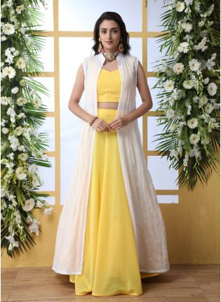 Incredible Lemon Yellow Georgette Bridesmaid Designer Lehenga Choli