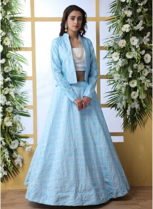 Iconic Sky Blue Art Silk Base Wedding Special Designer Lehenga Choli