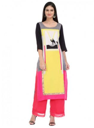 White Yellow And Black Printed Long Kurta
