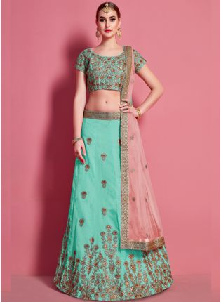 Sea Green Elegance Lehenga Choli With Beige Net Dupatta