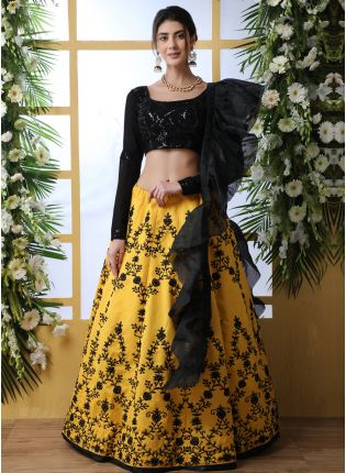Sensational Black And Yellow Art Silk Base Designer Lehenga Choli