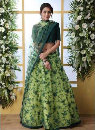 Sparkling Green Soft Net Base Designer Resham Work Lehenga Choli