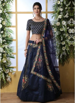 Phenomenal Navy Blue Art Silk Base Flared Designer Lehenga Choli