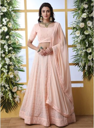 Stunning Peach Pink Georgette Base Bridesmaid Designer Lehenga Choli