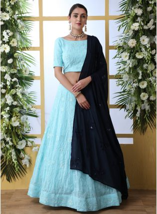 Tempting Sky Blue Georgette Base Bridesmaid Trendy Lehenga Choli