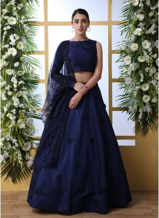 Sensational Navy Blue Taffeta Silk Moti And Thread Work Lehenga Choli