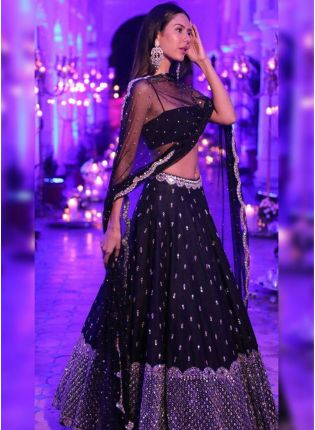 Black Zari Sequin Party Wear Panelled Lehenga Choli