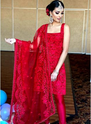 Red Resham Soft Net Wedding Pant Style Churidar Suit