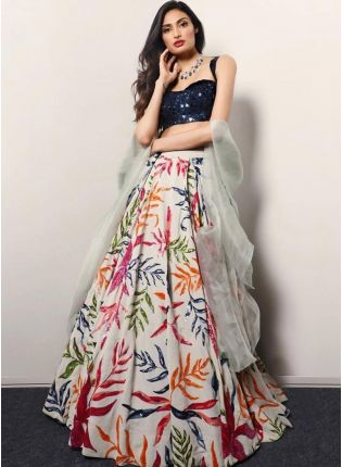 White Digital Print Tafetta Silk Flared Party Wear Lehenga Choli
