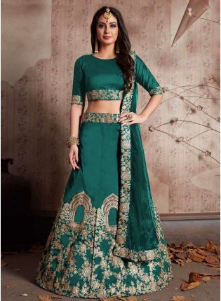 Green Dori Work Tafetta Silk Lehenga Choli & Dupatta Set