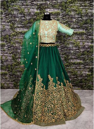 A-Line Embroidered Green Lehenga Choli Set
