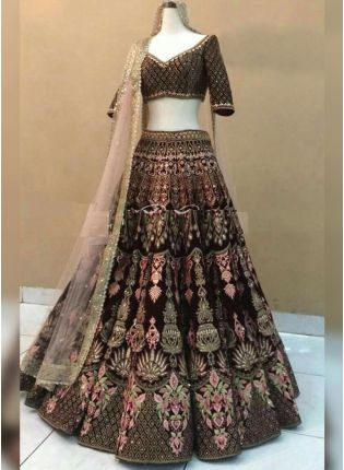 Maroon Stonework Zari and Velvet Wedding Panelled Lehenga Choli