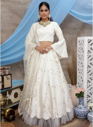 White Sequin Flare Sleeve A-Line Lehenga Choli