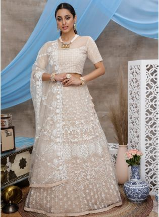 Detailed Royal Beige Soft Net Ceremonial Lehenga Choli