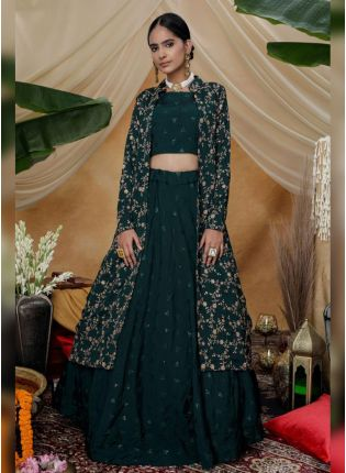 Remarkable Turtle Green Silk Base Sequin And Resham Work Lehenga Choli