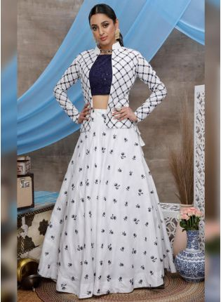 Stunning White Colored Cotton Base Resham And Sequin Lehenga Choli