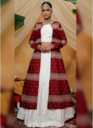 Elegant White And Maroon Silk Base Designer Jacket Style Lehenga Choli