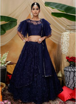 Navy Blue Resham And Sequin Soft Net Flared Lehenga Choli