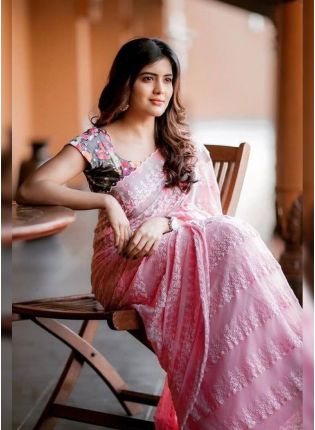 Pink Resham Georgette Embroidered Casual Saree