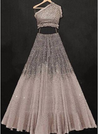 Beige Sequin Georgette Party Wear Flared Panelled Lehenga Choli