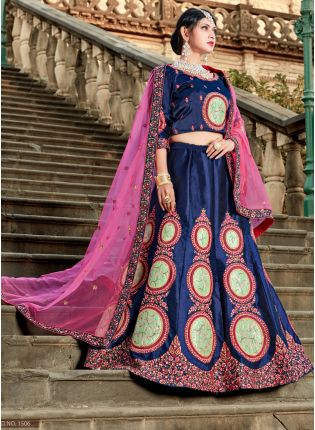 Midnight Blue Colored Heavily Drape Bridal Wear Lehenga Choli