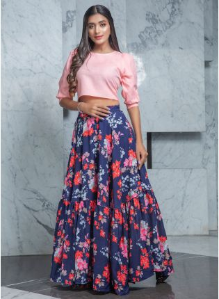 Decorative Floral Navy Blue And Pink Flared Lehenga