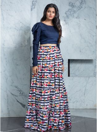 Summery Multi-Color Flared Rayon Lehenga Choli Set