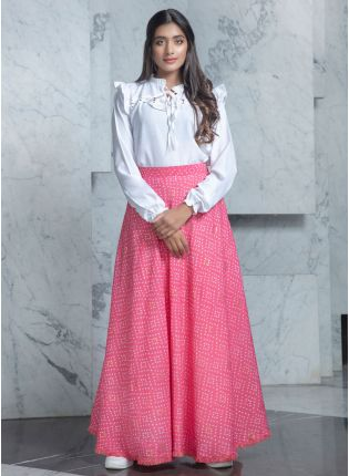 Rich Candy Pink and White Combination Lehenga