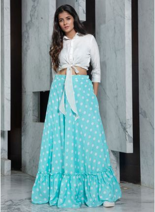 Ice Blue Polka Dot Flared Rayon Lehenga Choli