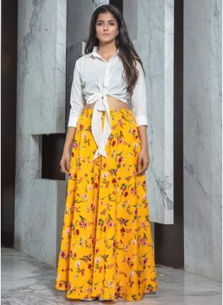 Sunshine Yellow Printed Flared Lehenga Choli Set