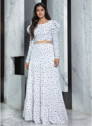 Power Shoulder Polka Dot Crepe Lehenga Choli