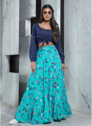Sea Blue Combination Printed Flared Lehenga Choli