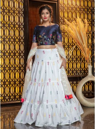 Classic White Resham Printed Cotton Silk Lehenga Choli Set
