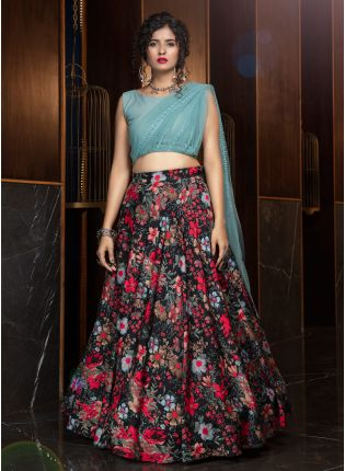 Alluring Black Digital Printed Crepe Lehenga Choli Set
