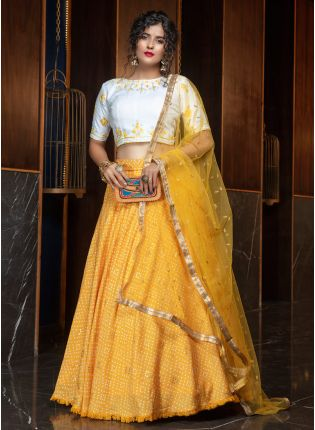 Glowing Yellow Foil Print Cotton Silk Lehenga Choli Set