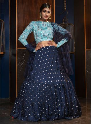 Dazzling Navy Blue Silk Weaving Cotton Lehenga Choli Set