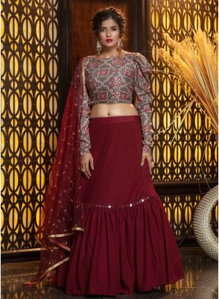 Dashing Maroon Foil Printed Georgette Lehenga Choli Set
