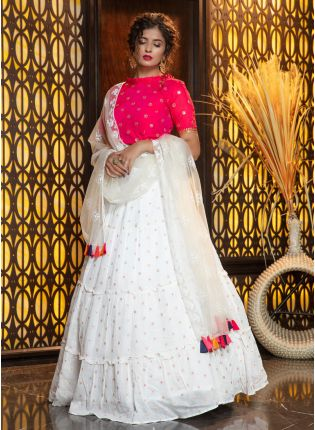 Magical White Cotton Silk Weave Lehenga Choli Set