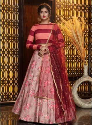 Mesmerizing Pink Rayon Sequined Lehenga Choli Set