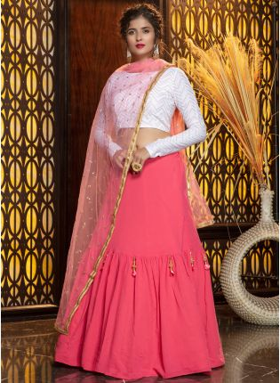 Charming Pink-White Georgette Flared Lehenga Choli Set