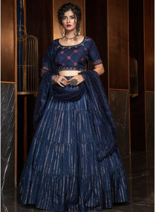 Royal Navy Blue Silk Weave Flared Lehenga Choli