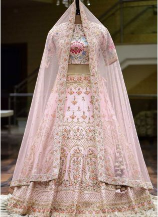 Baby Pink Zari And Silk Fabric Flared Lehenga Choli