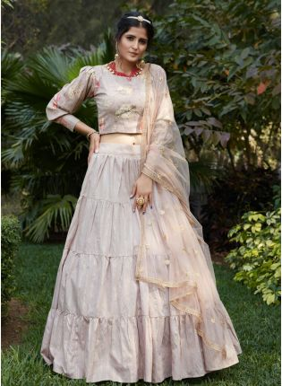 Beige Color Cotton Base Flared Lehenga Choli