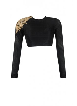 Backless Black Color Embroidered Blouse