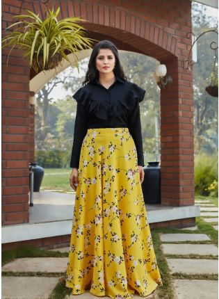 Yellow Color Digital Print Flared Lehenga Choli With Black Top
