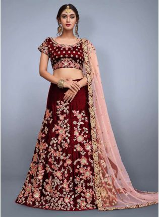 Maroon Floral Motif Embroidered Lehenga Set