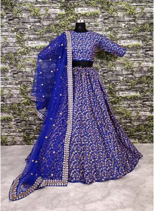 Vine Pattern Blue Lehnega Choli With Dupatta Set