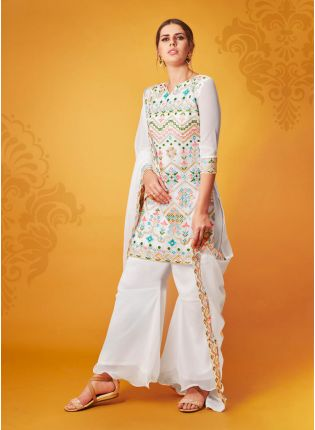 White Resham Georgette silk Causal Sharara Salwar Suit
