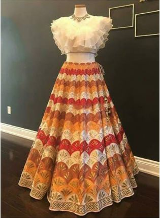 Multi Color Digital Print Tafetta Silk Flared Bollywood Ceremonial Lehenga Choli