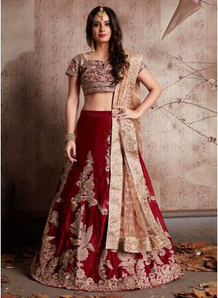 Maroon Heavily Embroidered Velvet Base Lehenga Choli